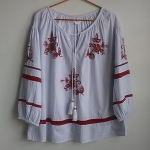 Velvet Pinstripe Top w/ Red Embroidery & Beading